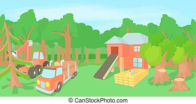 Logging horizontal banner, cartoon style