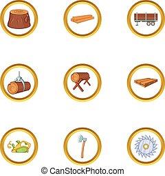 Logging icon set, cartoon style