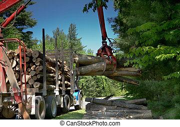 Logging transport truck delivering a load of firewood.