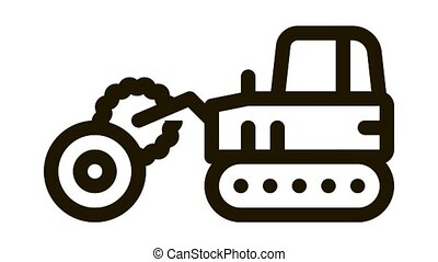 logging tractor Icon Animation. black logging tractor animated icon on white background