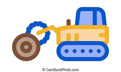 logging tractor Icon Animation. color logging tractor animated icon on white background