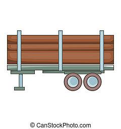 Logging truck icon, cartoon style