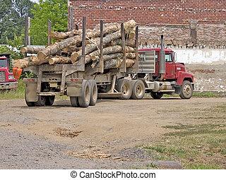 Logging Truck - Logging truck in dirt parking lot. Shot with...