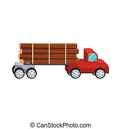 Logging truck logs icon, cartoon style