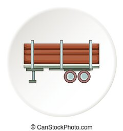 Logging truck with logs icon, cartoon style