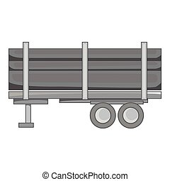 Logging truck with logs icon, monochrome style