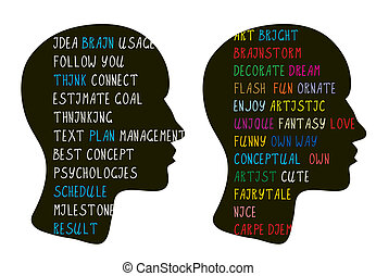 Logic and creative art ideas in brain - psychologies concept
