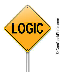 Logic concept. - Illustration depicting a roadsign with a...