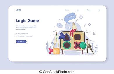 Logic game web banner or landing page set. Scientist ...