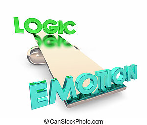 Logic Vs Emotion See Saw Balance Choice Winner Words 3d ...