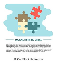 Logical thinking concept illustration in flat style with text