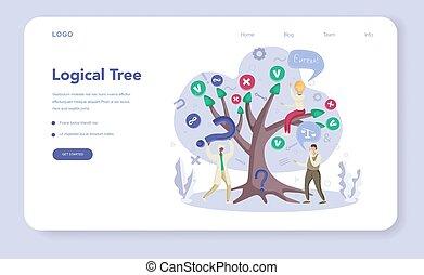 Logical tree web banner or landing page set. Scientist ...