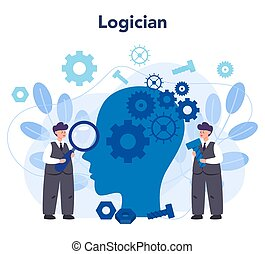 Logician concept. Scientist systematicly study of the forms ...