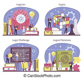 Logician concept set. Scientist systematicly studying ...