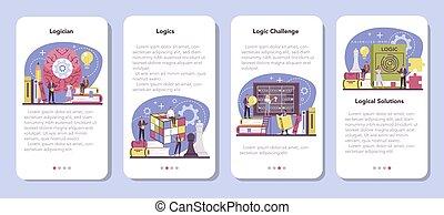 Logician mobile application banner set. Scientist ...
