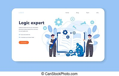 Logician web banner or landing page. Scientist systematicly ...