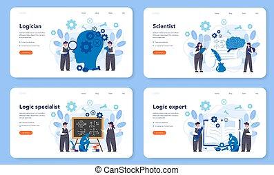 Logician web banner or landing page set. Scientist ...