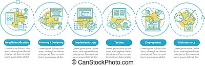 logiciel, elements., timeline, chart., présentation, développement, processus, visualisation, étapes, icônes, flot travail, étapes, template., disposition, options., business, conception, données, linéaire, vecteur, infographic