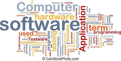 logiciel, mot, nuage