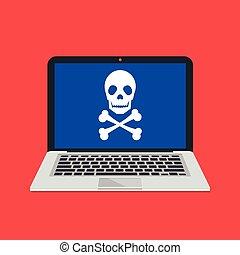 logiciel, ordinateur portable, moderne, hacher, conception, bsod, concepts., bleu, malveillant, créatif, attaque, os croisés, ransomware, écran plat visualisation, screen., illustration, virus, mort, fraude, crâne, vecteur, erreur, icon.