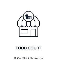 logiciel, ville, style, éléments, tribunal, contour, icônes, nourriture, collection., symbole, pixel, impression, conception, toile, parfait, usage, icon., conception, apps, mince