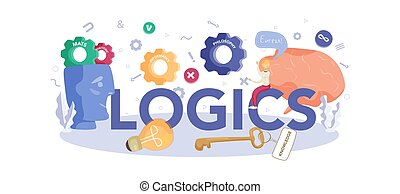 Logics typographic header concept. Scientist systematicly ...