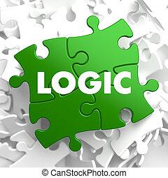 logika, na, zielony, puzzle.