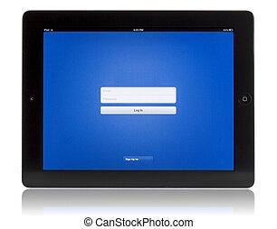 login, écran, sur, pc tablette