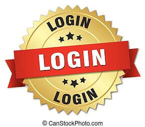 login 3d gold badge with red ribbon