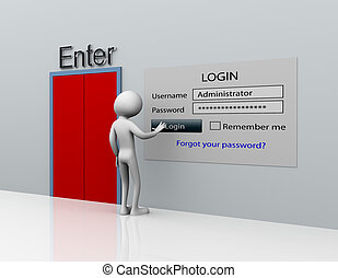 3d man secure login with administrator ID and password
