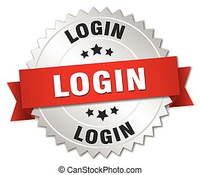 login 3d silver badge with red ribbon
