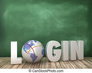 LOGIN 3D Word with Globe World on Chalkboard Background
