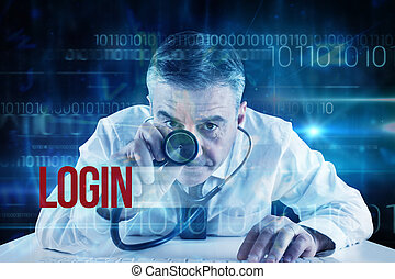 Login against blue technology design with binary code