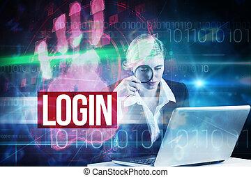 Login against red technology hand print design