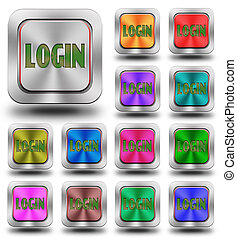 Login aluminum glossy icons, crazy colors