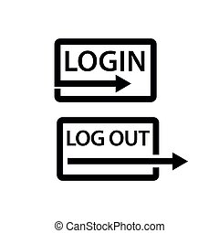 Login and logout icon. Flat design.
