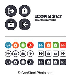 Login and Logout icons. Sign in icon. Locker. - Login and...
