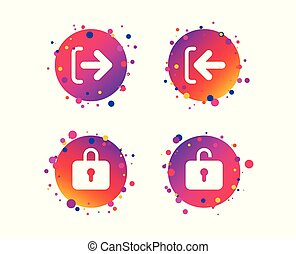 Login and Logout icons. Sign in icon. Locker. Vector