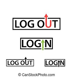 Login and logout text icon. Flat design.
