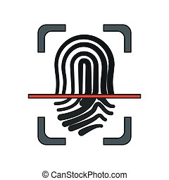 login and password design - fingerprint icon over white...