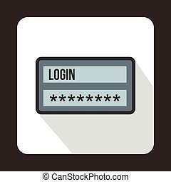 Login and password icon, flat style