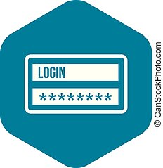 Login and password icon, simple style