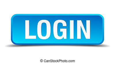 Login blue 3d realistic square isolated button