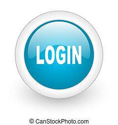 login blue circle glossy web icon on white background