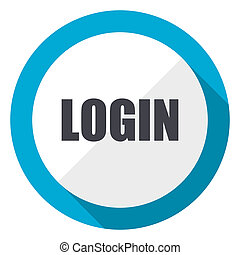 Login blue flat design web icon