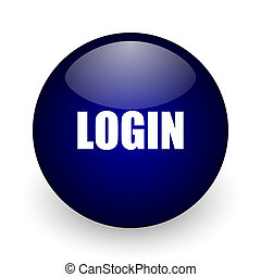 Login blue glossy ball web icon on white background. Round 3d render button.