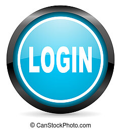 login blue glossy circle icon on white background