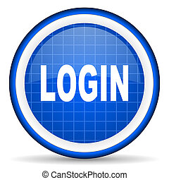 login blue glossy icon on white background