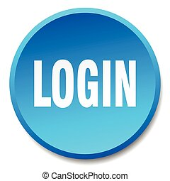 login blue round flat isolated push button