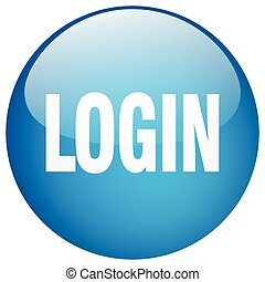 login blue round gel isolated push button